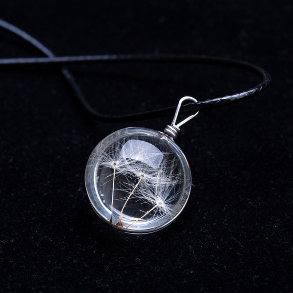 Halloween Crystal Glass Ball Dandelion Necklace
