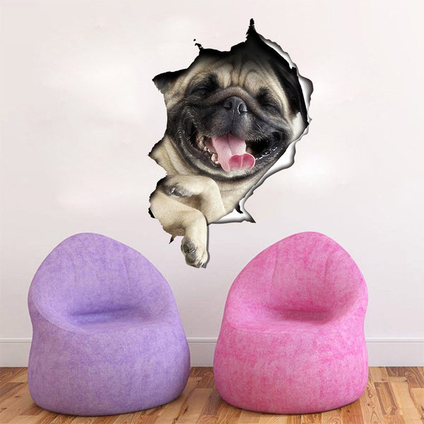 Funny 3D Cat And Pug Wall Sticker
