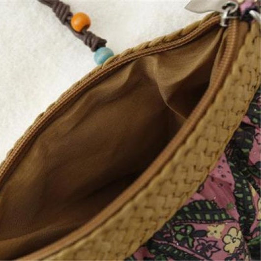 New Bohemian Exotic Floral Straw Weave Handbag