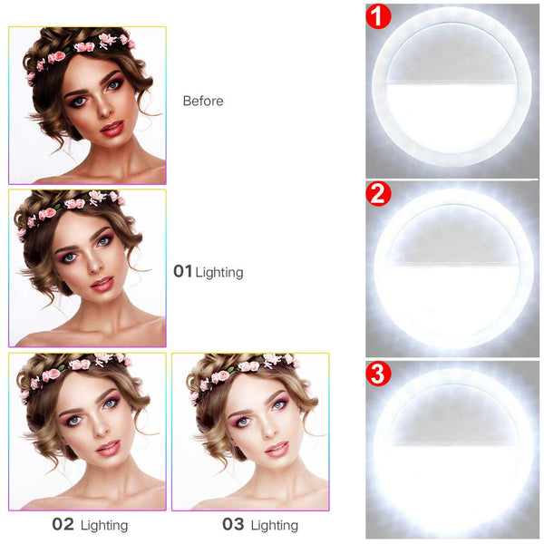 Selfie Ring Light For Smartphones USB chargeable
