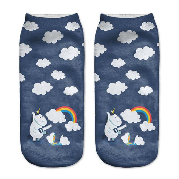 Passive Aggressive Cat And Unicorn Ankle Socks (One Size fits all)