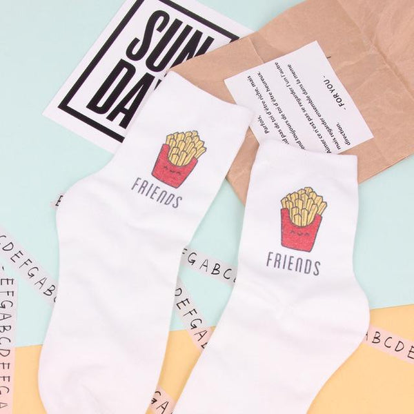 New Burger And French Fries BFF Socks (One size fits all)