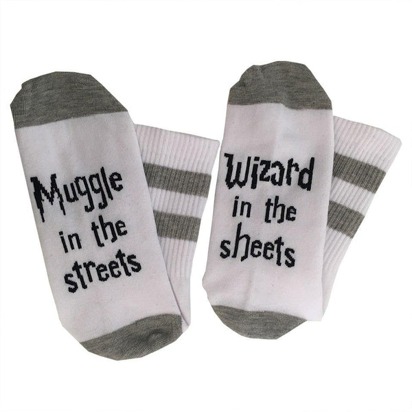 Wizard In Sheets, Muggle In The Streets Funny Socks(One Size Fits All)