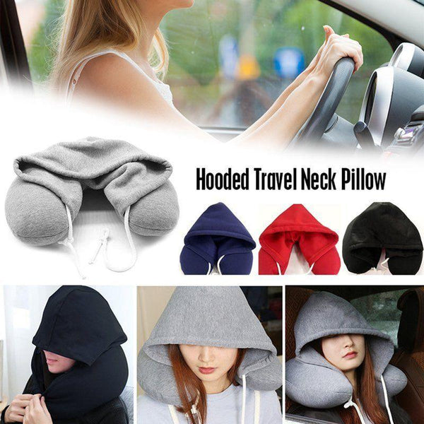 Soft Hooded U-Shaped Travel Neck Pillow