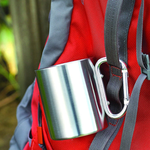 220ml / 7oz Stainless Steel Mug Outdoor Camping Carabiner Cup