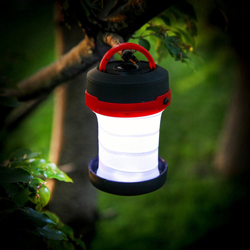 Water Resistant Collapsible LED Lantern with 3 Modes and D-ring Key Chain Clip