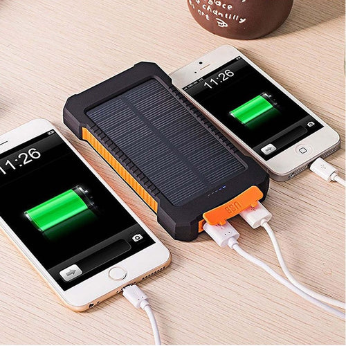 Waterproof 10,000 mAh Power Bank With Solar Charging
