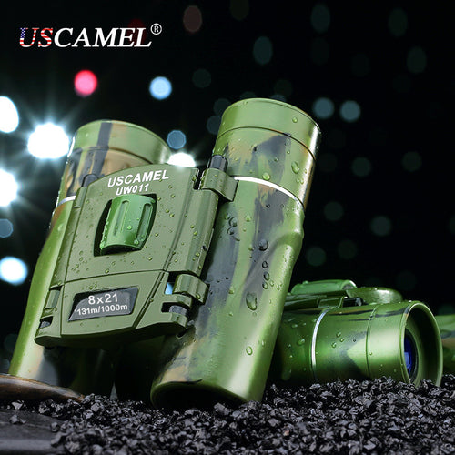 Camouflage Folding Pocket Binoculars HD Bak4 Lens and Easy Focus