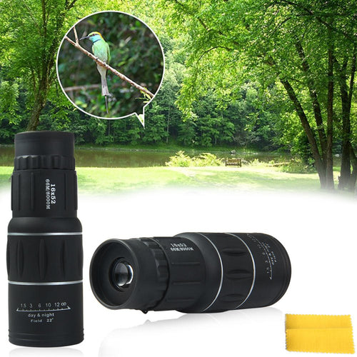 16 x 52 Monocular Dual Focus Zoom Day & Low Light Vision Telescope