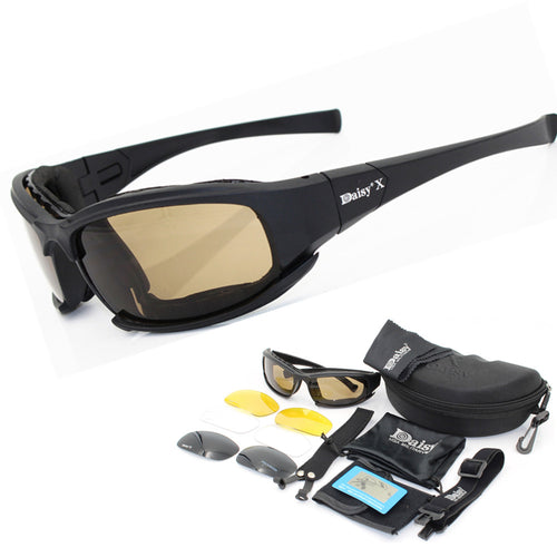 Polarized Daisy X7 Army Sunglasses, Military Goggles With 4 Lens Kit