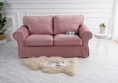 ektorp 2 seat sofa cover velvet old rose