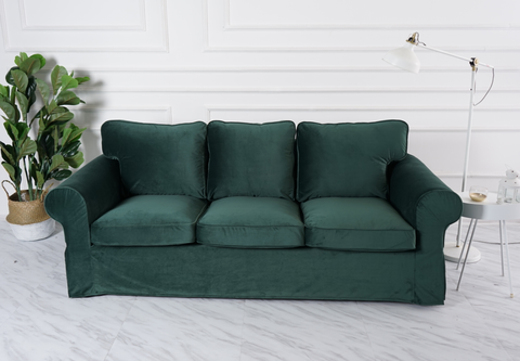 ektorp 3 seat sofa cover velvet dark green