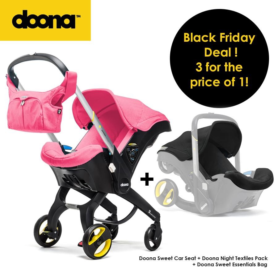 Doona Infant Car Seat - Sweet + Free Essentials Bag + Free Night Black Fabric Set
