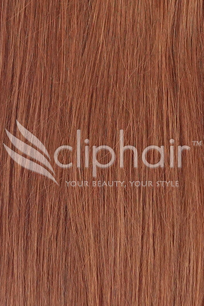 Remy Clip in Human Hair Extensions Highlights / Streaks - Dark Auburn / Copper Red (#33)