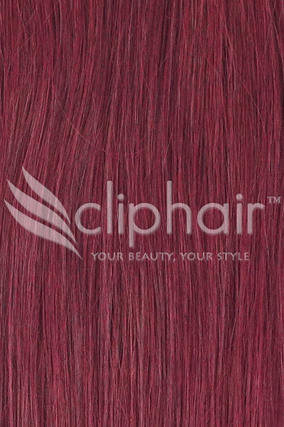 Remy Clip in Human Hair Extensions Highlights / Streaks - Mahogany Red (#99J)