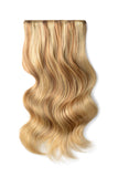 Double Wefted Full Head Remy Clip in Human Hair Extensions - Medium Golden Brown/Golden Blonde Mix (#10/16))