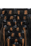 Full Head Remy Clip in Human Hair Extensions - Natural Black/Auburn Mix (#1B/30)