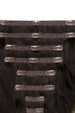 Full Head Remy Clip in Human Hair Extensions - Dark Brown/ Silver Hair (#T2/SG)