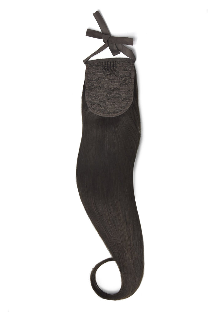 Clip in Ponytail Remy Human Hair Extensions - Darkest Brown (#2)
