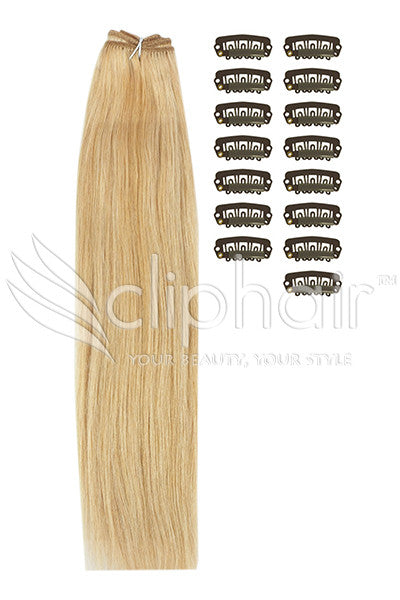 DIY Remy Clip in Human Hair Extensions - Medium Golden Brown/Golden Blonde Mix (#10/16)