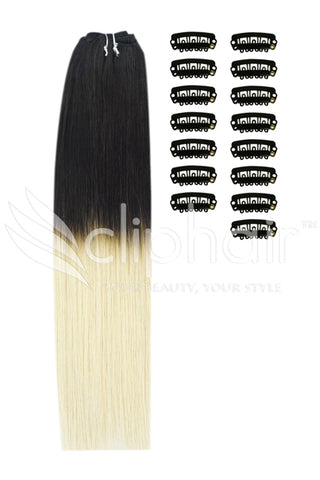 DIY Remy Clip in Human Hair Extensions - Ombre (#T1B/60)