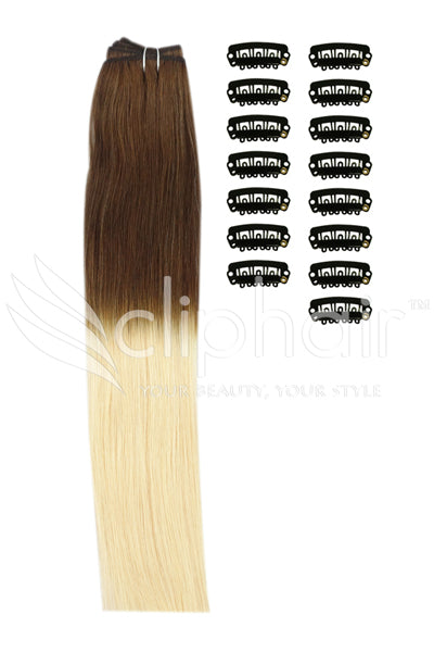 DIY Remy Clip in Human Hair Extensions - Ombre (#T4/613)
