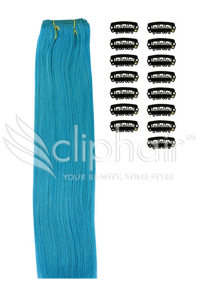 DIY Remy Clip in Human Hair Extensions - Turquoise