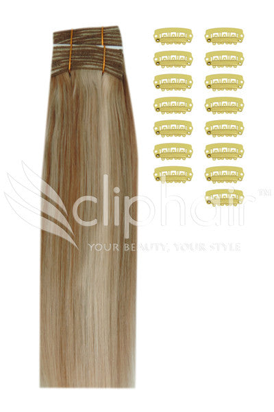 DIY Remy Clip in Human Hair Extensions - Dark Blonde/Ash Blonde Mix (#14/22)