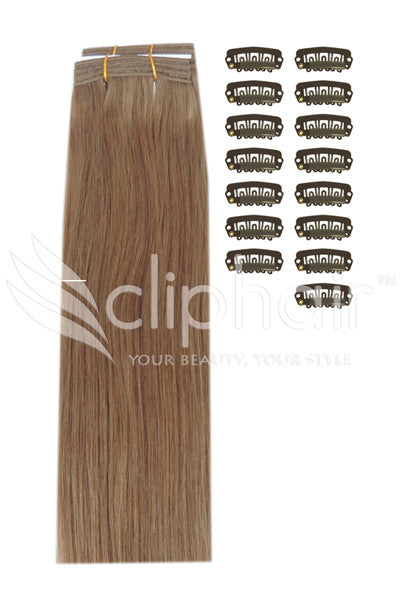 DIY Remy Clip in Human Hair Extensions - Dark Blonde (#14)