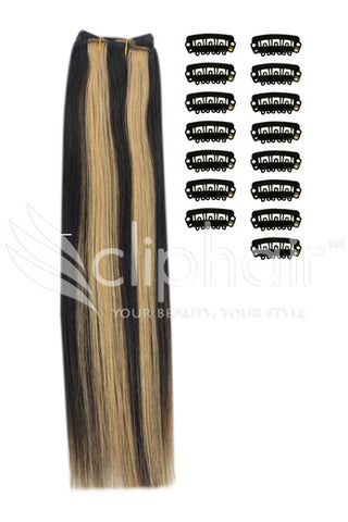 DIY Remy Clip in Human Hair Extensions - Natural Black/Blonde Mix (#1B/27)