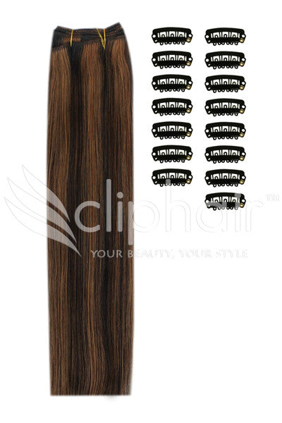DIY Remy Clip in Human Hair Extensions - Natural Black/Auburn Mix (#1B/30)