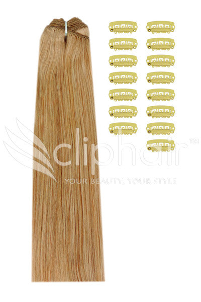DIY Remy Clip in Human Hair Extensions - Strawberry/Ginger Blonde (#27)