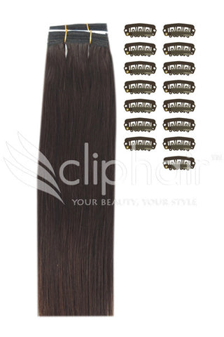 DIY Remy Clip in Human Hair Extensions - Medium Brown (#4)
