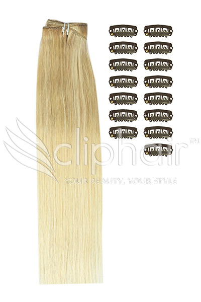 DIY Remy Clip in Human Hair Extensions - Ombre (#TP18/613)