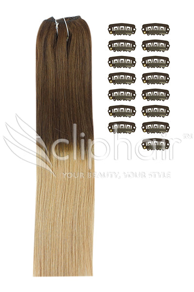 DIY Remy Clip in Human Hair Extensions - Ombre (#T4/27)