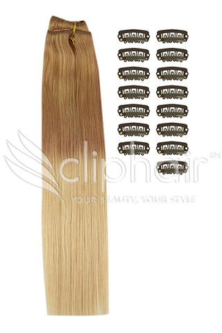 DIY Remy Clip in Human Hair Extensions - Ombre (#T6/27)