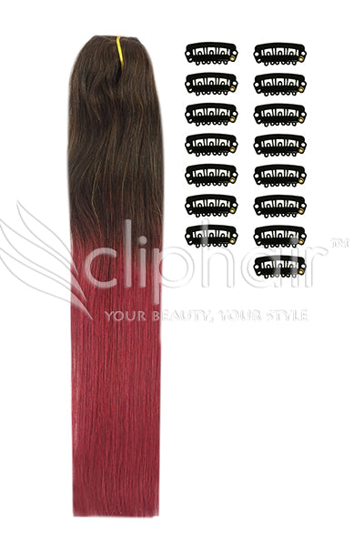 DIY Remy Clip in Human Hair Extensions - Ombre (#T2/530)