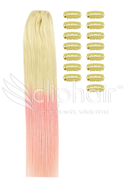 DIY Remy Clip in Human Hair Extensions - Ombre (#T60/PINK)