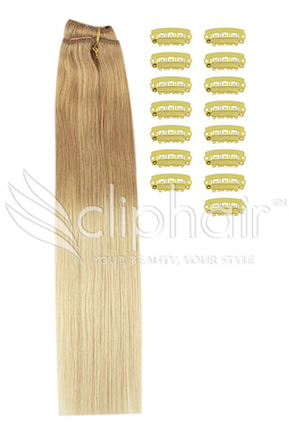 DIY Remy Clip in Human Hair Extensions - Ombre (#T18/613)