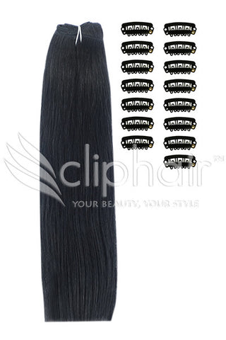 DIY Remy Clip in Human Hair Extensions - Jet Black (#1)