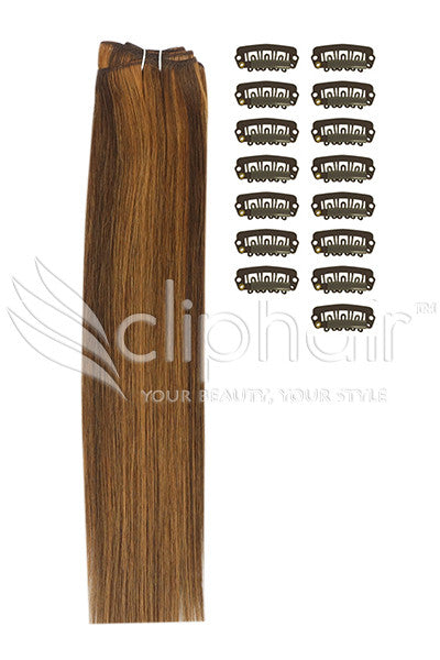 DIY Remy Clip in Human Hair Extensions - Medium Brown/Auburn Mix (#4/30)