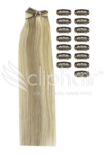 DIY Remy Clip in Human Hair Extensions - Ash Brown/Bleach Blonde Mix (#9/613)