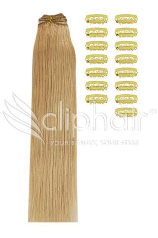 DIY Remy Clip in Human Hair Extensions >Light Brown/Golden Blonde/Bleach Blonde Mix (#12/16/613)