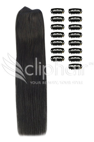 DIY Remy Clip in Human Hair Extensions - Off/Natural Black (#1B)