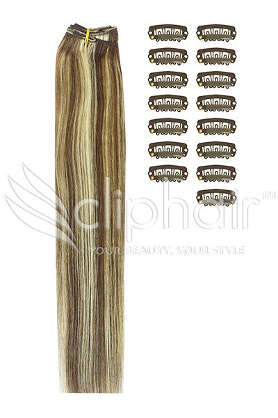 DIY Remy Clip in Human Hair Extensions -Medium Brown/Blonde Mix (#4/24)