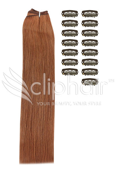 DIY Remy Clip in Human Hair Extensions - Dark Auburn / Copper Red (#33)