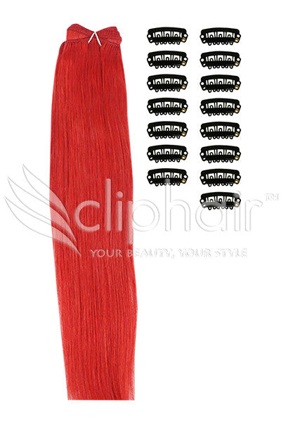 DIY Remy Clip in Human Hair Extensions - Red