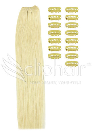 DIY Remy Clip in Human Hair Extensions - Lightest Blonde (#60)