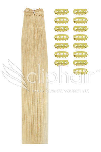 DIY Remy Clip in Human Hair Extensions - Bleach Blonde (#613)