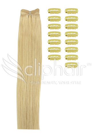 DIY Remy Clip in Human Hair Extensions - Light Ash Blonde (#22)